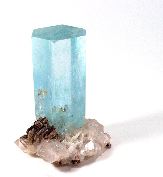 aquamarine crystal on matrix