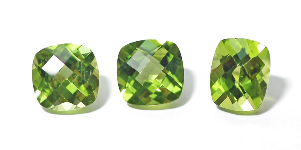 Rose cut peridots