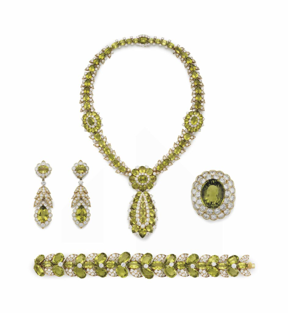 peridot jewellery set